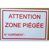 PANNEAU ATTENTION ZONE PIEGEE 30 X 20 CM